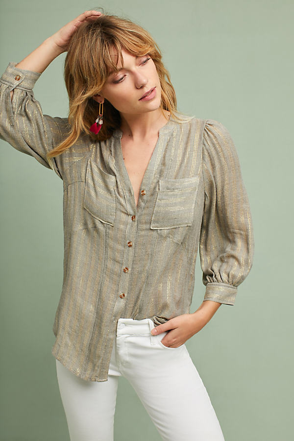 Itzel Metallic Shirt - Grey, Size Uk 14