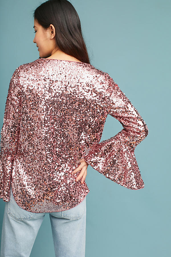Slide View: 4: Sequined Bell-Sleeve Top