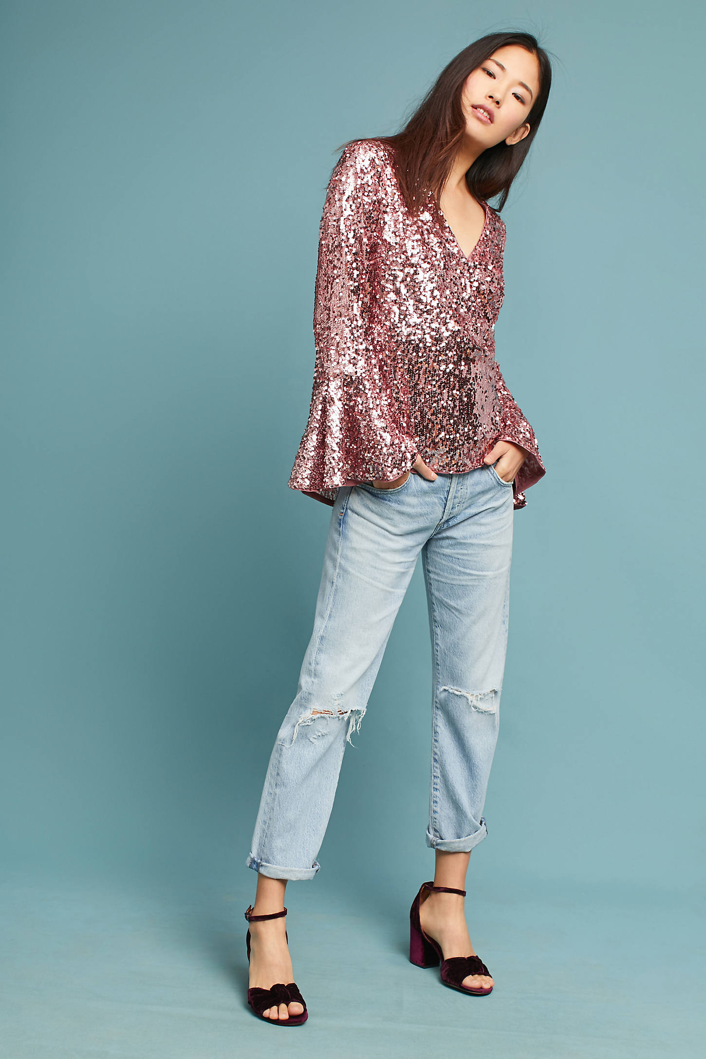 Sequined Bell-Sleeve Top