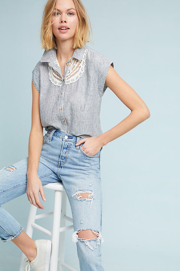 Yoked Linen Shirt - Assorted, Size M