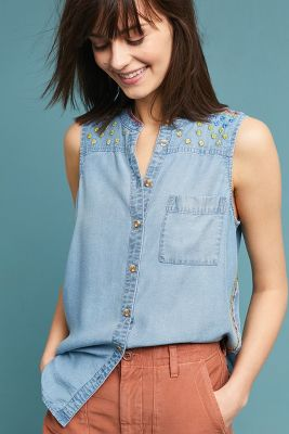 Barton Sleeveless Chambray Buttondown by Maeve