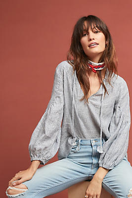 Slide View: 1: Stacy Linen Peasant Top