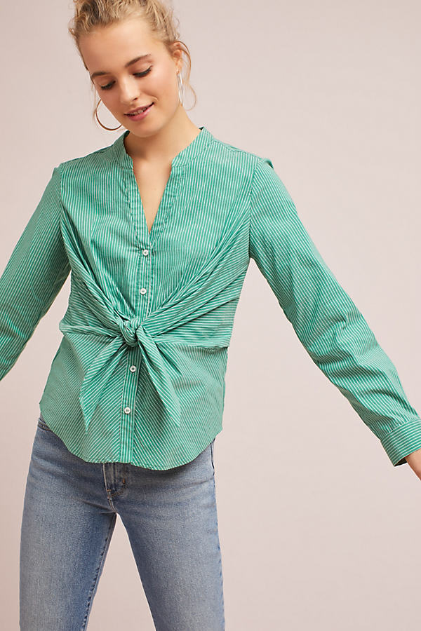Long Sleeve Knotted Shirt - Green, Size Uk 12