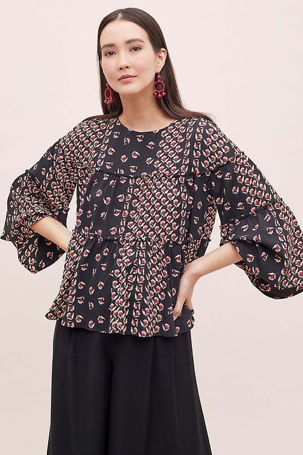 Minerva Floral-Print Peasant Blouse - Assorted, Size Uk 10