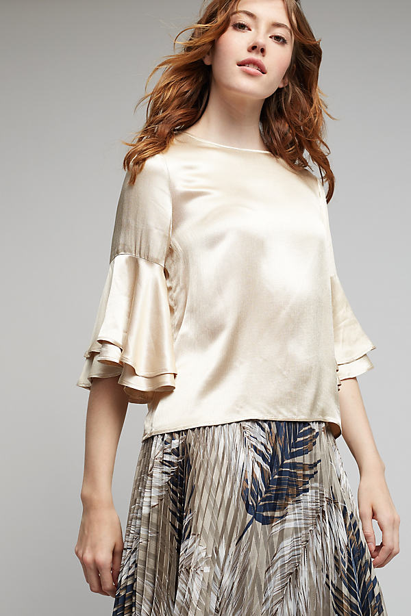 Tia Fluted-Sleeve Blouse, Gold - Gold, Size Uk 10