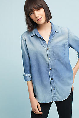 Slide View: 1: AMO Distressed Denim Buttondown