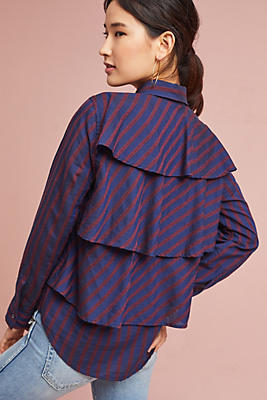 Slide View: 1: AMO Ruffled Prep Shirt