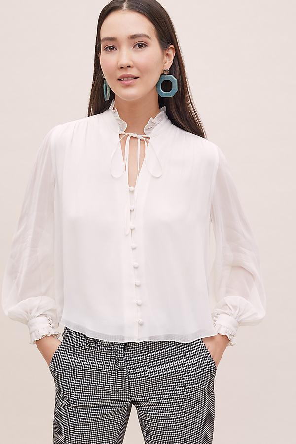 High-Neck Victorian Blouse - White, Size Xl