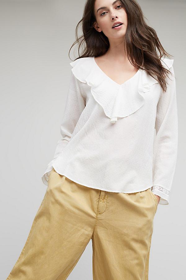 Alena Ruffled Blouse, White - Cream, Size Uk 10