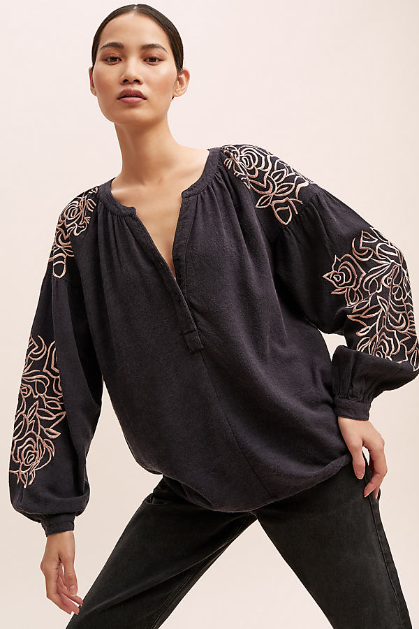 Flo Embroidered-Silk Blouse - Blue, Size S