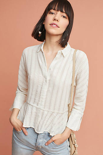 Greta Striped Peplum Buttondown
