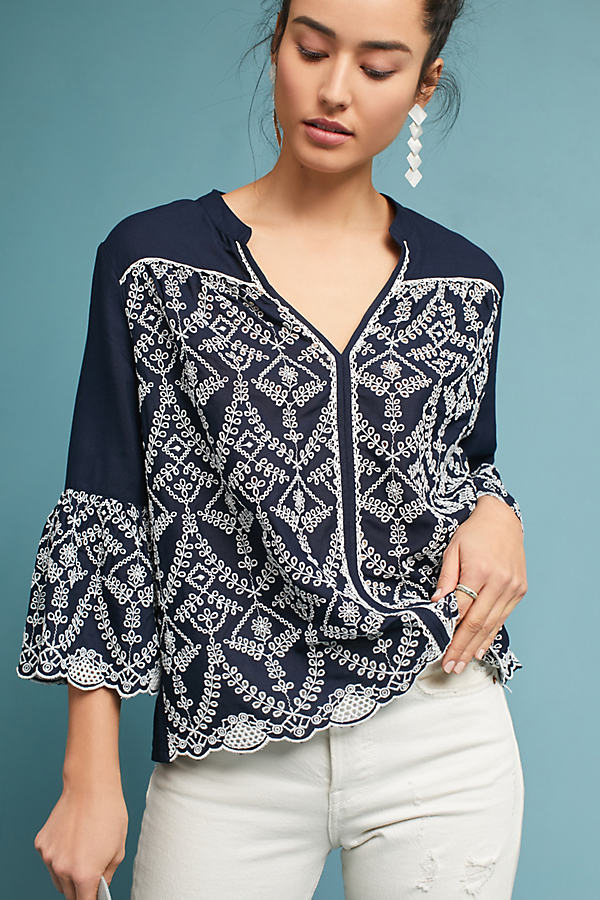 Nathalie Open Embroidery Blouse - Navy, Size Uk 10
