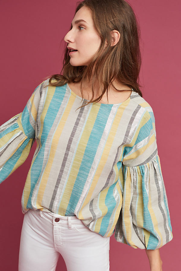 Denni Metallic Striped Top - Green, Size Uk 8