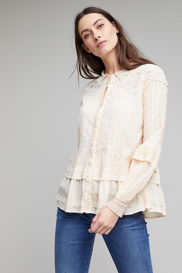Joelle Lace High Neck Blouse - Nude/chair, Size Uk 10