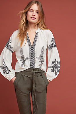 Slide View: 1: Anastasia Embroidered Peasant Top