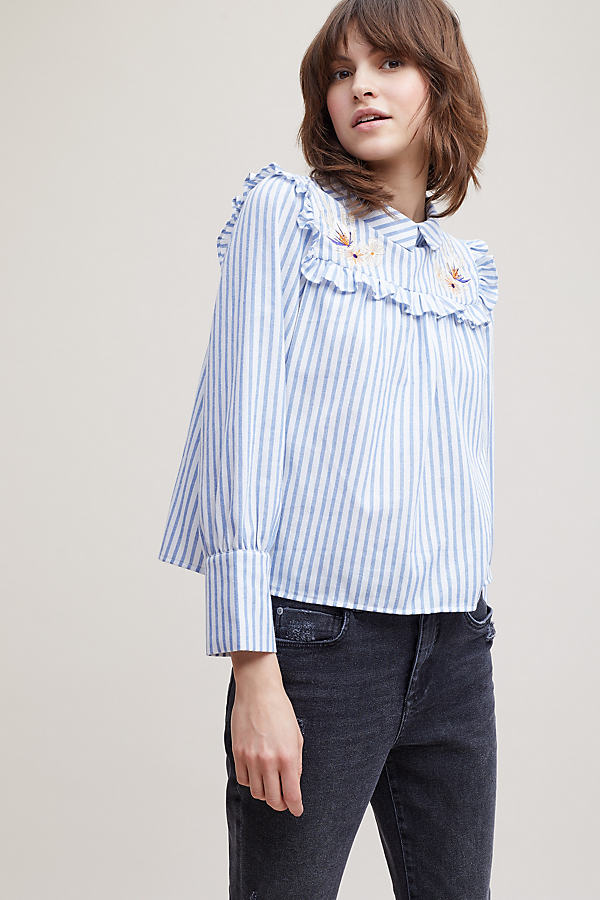 Abree Striped Embroidered Shirt - Blue Motif, Size Uk 10