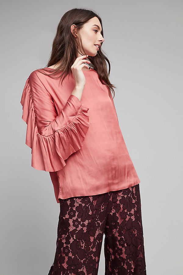 Alenne Satin Ruffle Sleeve Top - Red, Size S