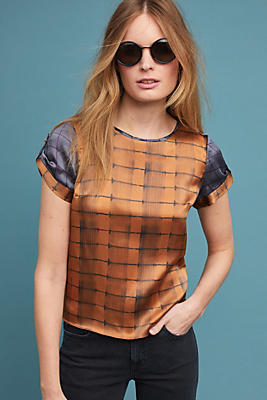 Slide View: 1: Plaid Silk Blouse