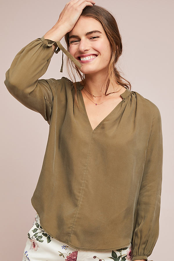 Sevier Peasant Top - Green, Size M