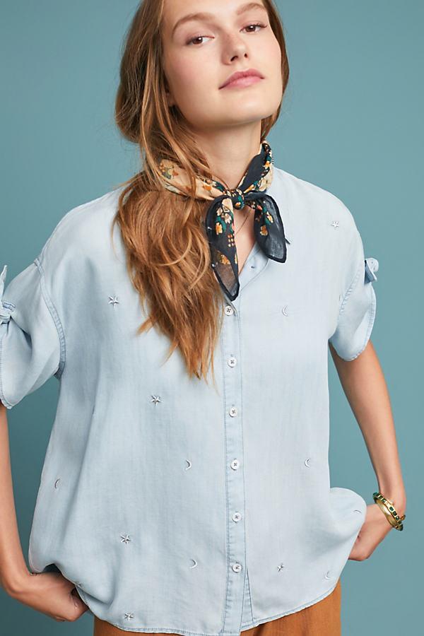 Mesilla Embroidered Chambray Shirt - Blue, Size Xl