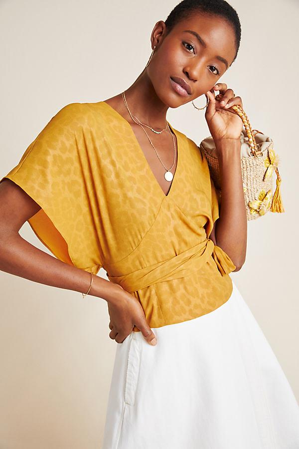 Mindy Dolman-Sleeved Blouse - Yellow, Size L