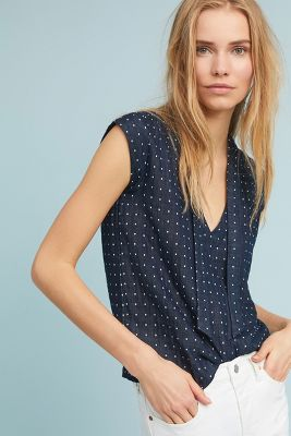 Furo   Desiree Polka Dot Blouse  -    BLUE MOTIF