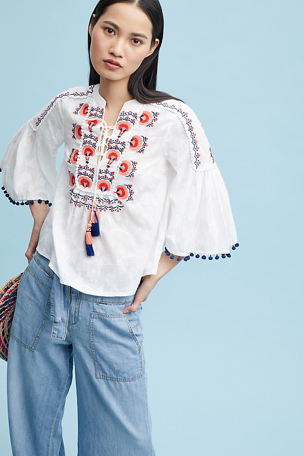 Juliet Embroidered Peasant Blouse - White, Size M