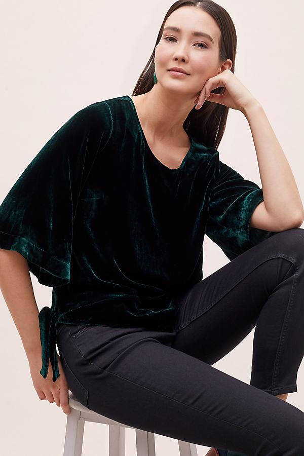 Gianna Silk-Mix Velvet-Kimono Top - Green, Size Uk 6