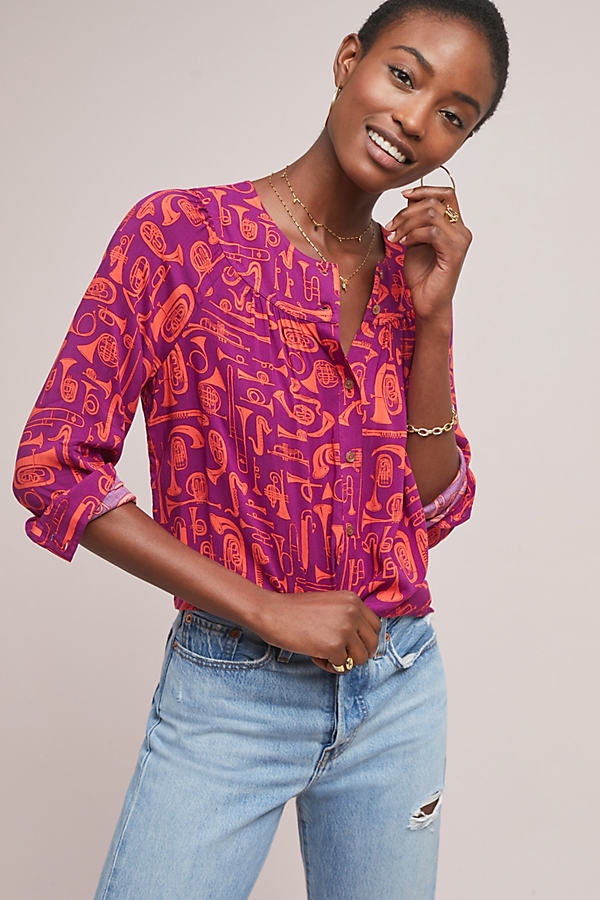 Colloquial Yoked Blouse - Purple, Size Uk 6