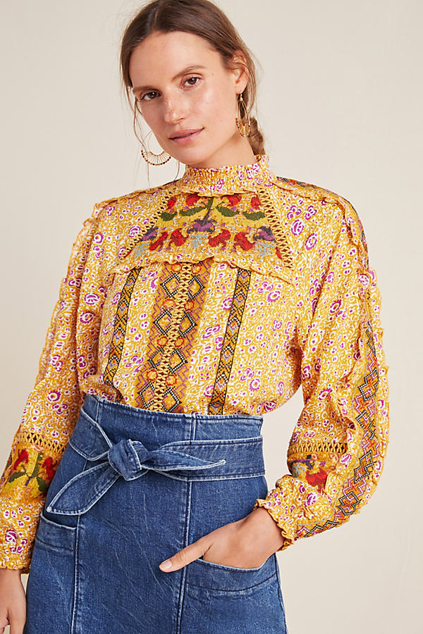 Goldie Embroidered Blouse - Assorted, Size Uk 16
