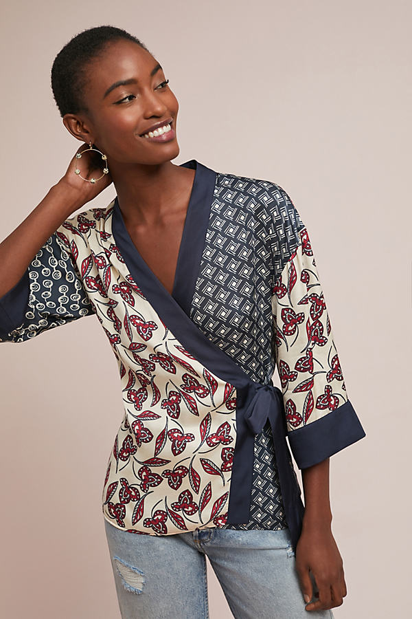 Patchwork Kimono Wrap Blouse - Blue, Size Xs
