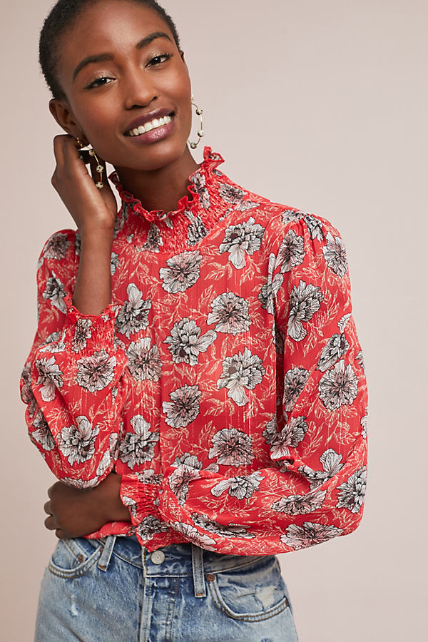Innisfree Floral Blouse - Red, Size Uk 14