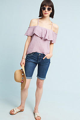 Slide View: 1: Michael Stars Textured Open-Shoulder Top