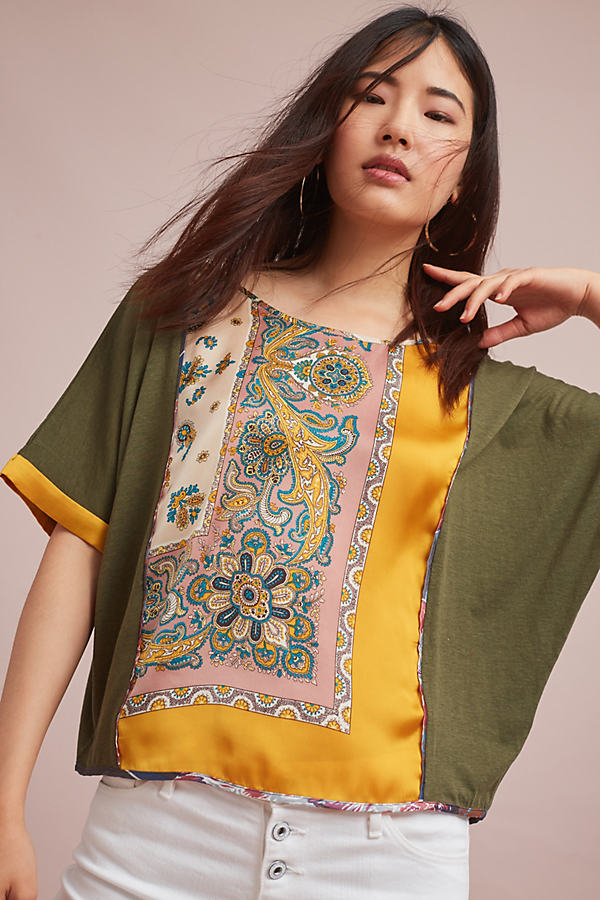 Reeves Paisley Top, Green - Green Motif, Size L