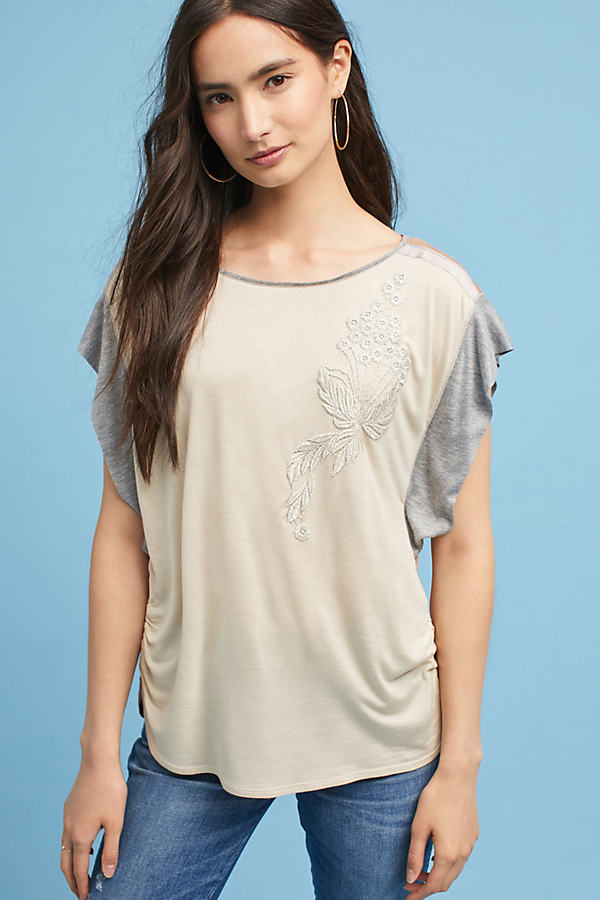 Colourblock Applique Tee - Neutral Motif, Size Xl
