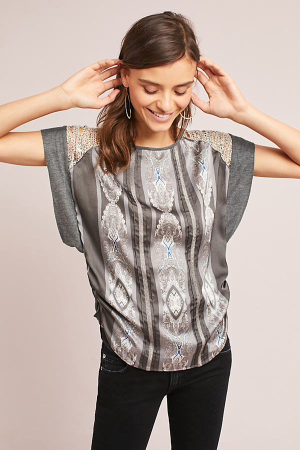 Adelaide Printed Top, Grey - Grey Motif, Size S