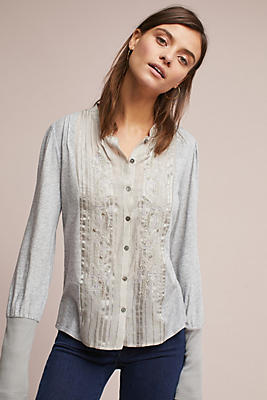 Slide View: 1: Embroidered Knit Buttondown