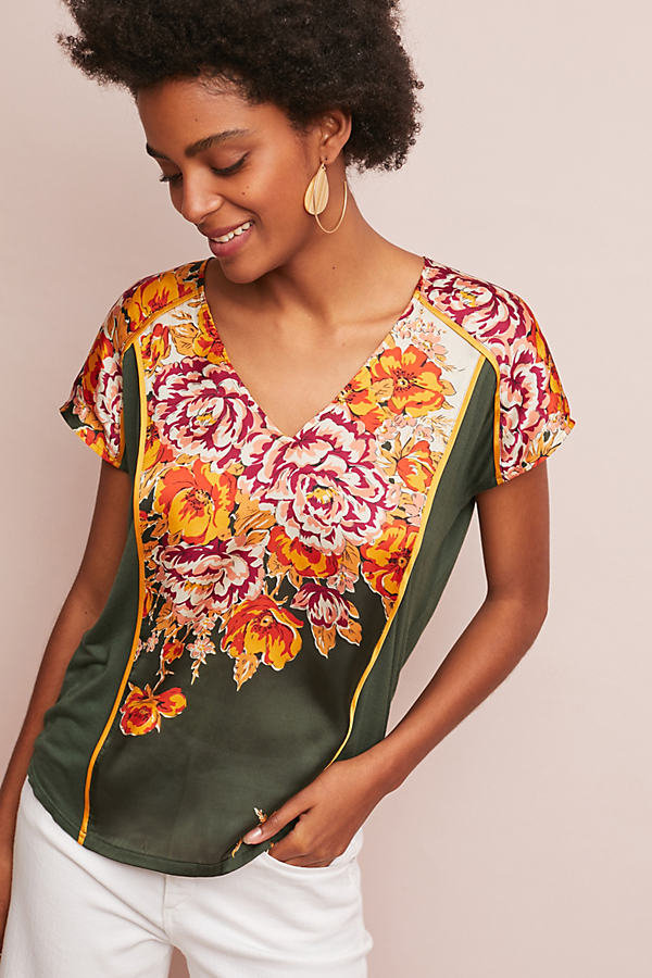 Evesham Printed Top - Green, Size Xl