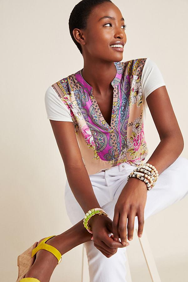 Edna Floral-Print Shirt - Pink, Size L