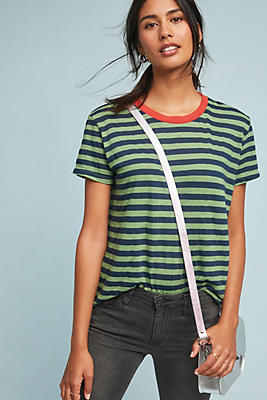 Slide View: 1: Peace Striped Ringer Tee