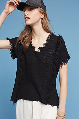 Slide View: 1: Fringed & Textured Pullover