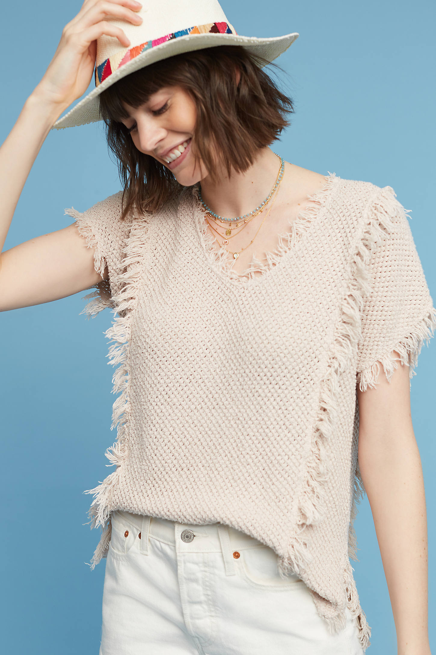Fringed & Textured Pullover