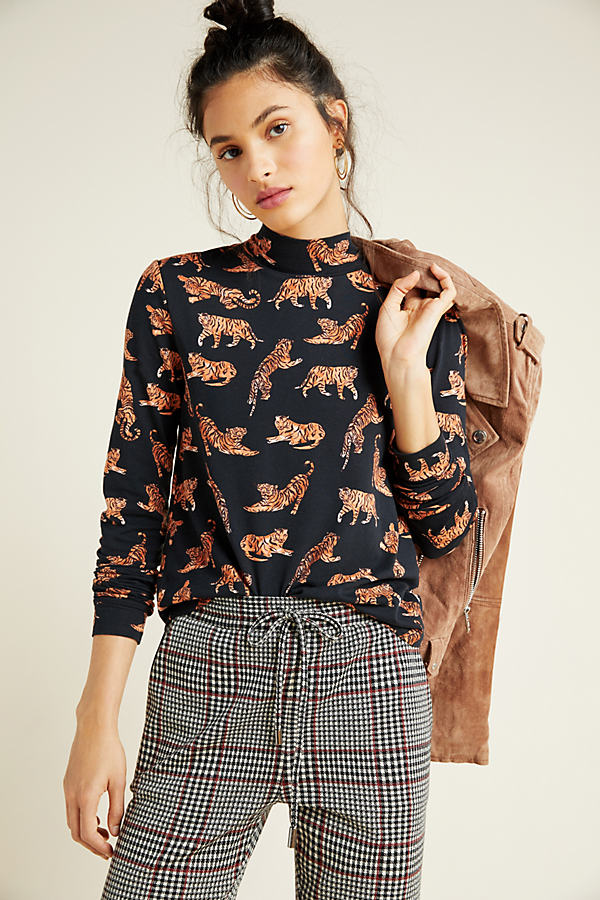 Knitted Floral Turtleneck - Assorted, Size M