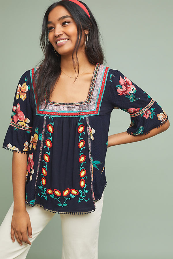Dakota Embroidered Top - Blue, Size L
