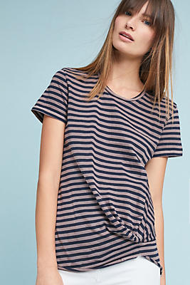 Slide View: 1: Stateside Twisted-Front Stripe Top