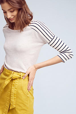 Slide View: 1: Striped Sleeves Terry Top