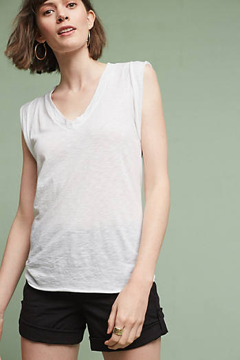 Rolled V-Neck Top