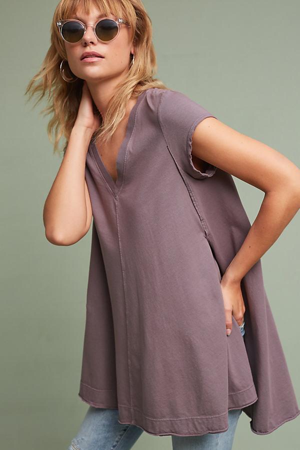 Roxanne V-Neck Tunic, Raspberry - Grey, Size M