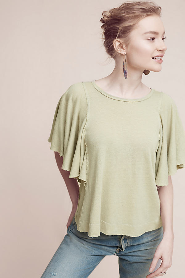 Lana Fluttered Top - Green, Size Xl