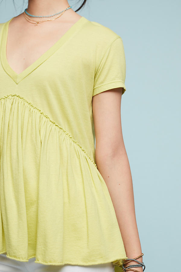 Slide View: 2: Draped V-Neck Tee